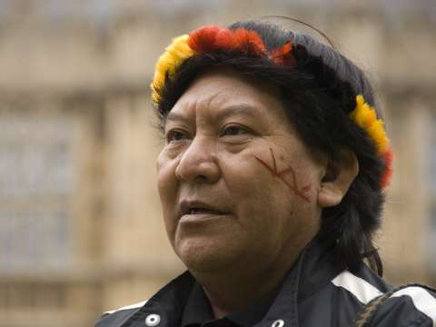 Davi Koponawa outside the Palace of Westminster, London. Photo: Survival International.