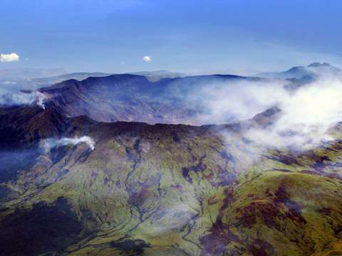 The huge caldera of Mount Tambora, Indonesia - still active today. Photo: Jialiang Gao, CC BY-SA.