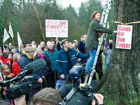 Hands Off Our Forest protest in the Forest of Dean, 2011. Photograph by John F French.