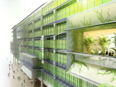 the 'green wall' that Ecover has planned for its new offices will feature adjustable lattices to take advantage of low latitude sun for space heating, while reflecting off surplus summer heat. Image: Ecover.