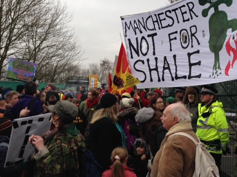 Anti-fracking protest at Barton Moss - but as far as the Government is concerned, dissent is unimportant. Photo: Manchester Friends of the Earth via Flickr.