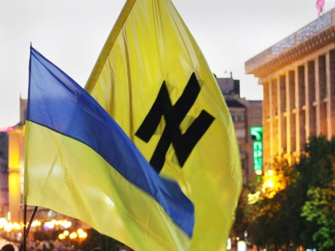 The Wolfsangel symbol of Adolf Hitler's SS on a banner in Ukraine.