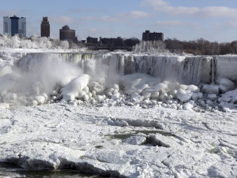 Changing climates ... the polar vortex played havoc with Niagara Falls (and much of the rest of North America too). Photo: Rick Warne / EPA.