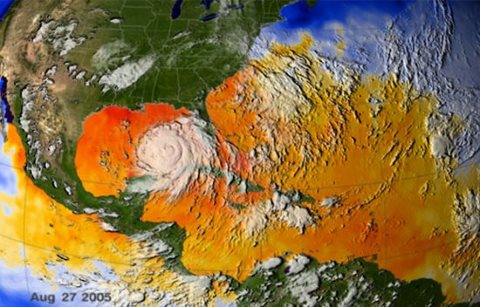 Hurricane Katrina caused the greatest property damage of any weather disaster in history. In the photo, it Katrina approaches landfall. Photo: NASA's Marshall Space Flight Center via Flickr, 27th August 2005.