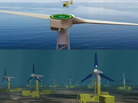 The world's first offshore deployment of two-bladed wind turbines, and Britain's first tidal power array, are both moving forward in Scotland's seas. Images: Crown Estate.