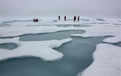 Melting point: researchers study Arctic sea ice and melt ponds on the Chuckchi Sea. Photo: Kathryn Hansen / NASA via Wikimedia Commons.