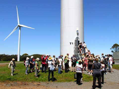 A public tour of the Hepburn Community Wind Farm on its launch day, 5th November 2011. Photo: Tibor Hegedis / Hepburn Wind via Flickr.