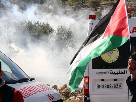 Ambulances under tear gas attack at Bil'in, Palestine. In future, could it be something worse? Photo: Yossi Gurvitz via Flickr.