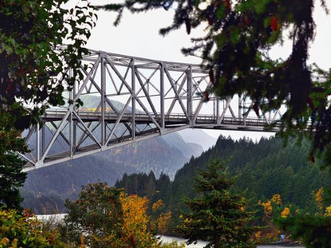 The 'Bridge of the Gods' crossing the Columbia River Gorge. Photo: Mark Stevens via Flickr.