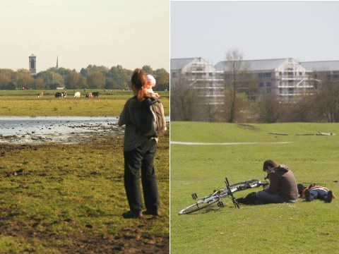 The view from Port Meadow, before and after. Original photos from Save Port Meadow.