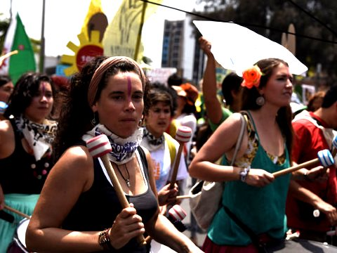 People's Climate March, COP20, Lima, with Christine Milne. Photo: Emma Bull / Green MPs via Flickr.