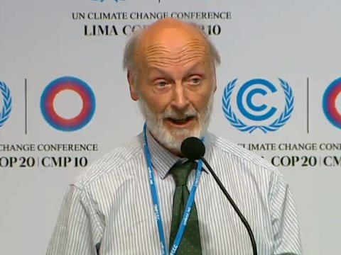 John Nissen speaking at AMEG's COP20 press conference. Photo: still from video on unfccc6.meta-fusion.com/ .