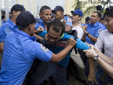 Violence breaks out at a 2013 protest against Nicaragua's canal project. Photo: Jorge Mejía Peralta via Flickr.