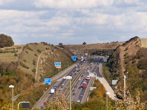 In 1991 protests against this M3 cutting through Twyford Down galvanised a road protest movement that forced a major government retreat. Can we do the same again? Photo: © Peter Facey via geograph.org.uk/.