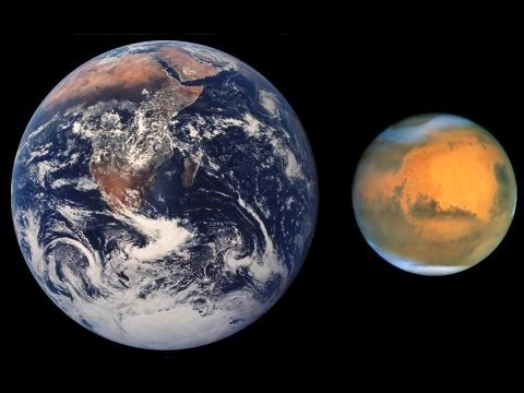 Earth and Mars - spot the difference? Image: RHorning, modified by Scooter20 via Wikimedia Commons.