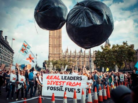 The Force is with us! Giant carbon bubbles were chased through the streets of London during the People's Climate March in September. Photo: 350.org.