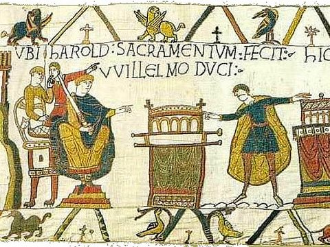 The biggest stitch up since the Bayeux Tapestry? Here Harold Earl of Wessex is shown swearing an oath to deliver the English crown to Duke William of Normandy. Photo: Wikimedia Commons.