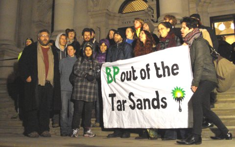"The Reclaim Shakespeare Company chant ""Art Not Oil"" outside the Tate AGM. Photo: Platform London."