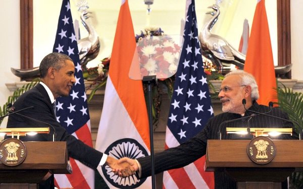 Despite the handshake between Barack Obama and Narendra Modi, no deal was done on Indian emissions reductions. Photo: Government of India Press Information Bureau.