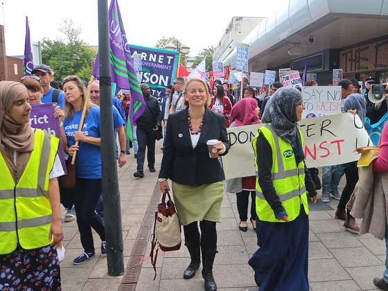 Green Party Leader Natalie Bennett on a 'Stand up to UKIP' demonstration in Doncaster, 27th September 2014. Photo: Steve Eason via Flickr (CC BY-NC-SA 2.0).