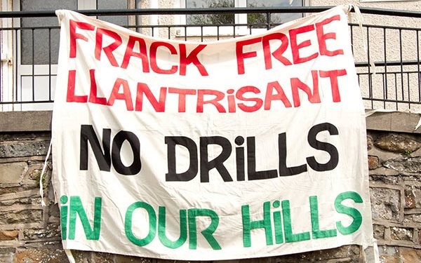 'No drills in our hills!' A powerful grassroots anti-fracking campaign has taken root in Wales hills and valleys. Photo: DailyWales.net.