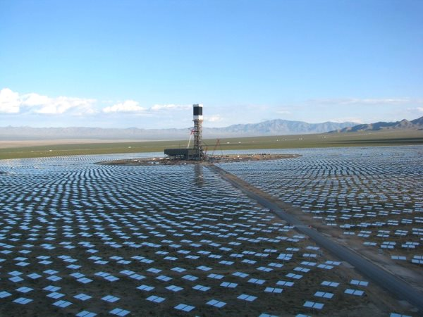 One of three solar towers at the Ivanpah CSP plant on the Nevada-California border.