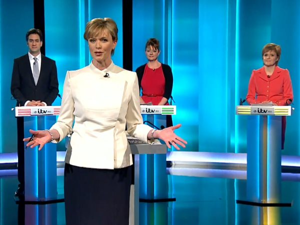 Still from the introduction to ITV's Election 20125 Leaders' Debate with Ed Miliband, Leanne Wood and Nicola Sturgeon, with presenter Julie Etchingham. Photo: ITV.