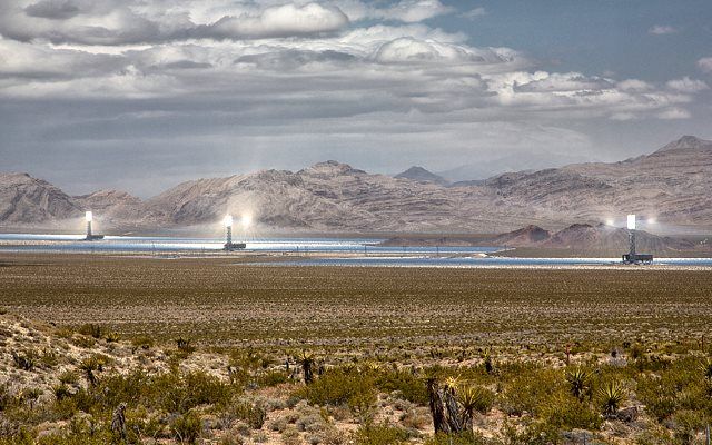 6,000 sq.km of California are suitable for this 'concentrating solar power' approach shown here at the Ivanpah Solar Electric Generating System (ISEGS) in California's Mojave Desert. Photo: Jan Maguire via Flickr.