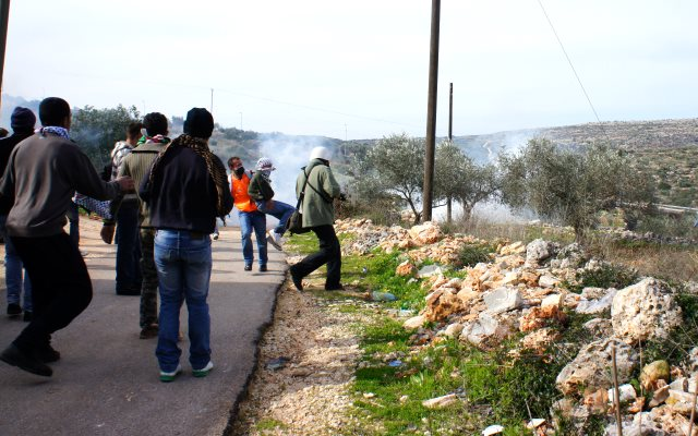 A protest in Kafr ad Dik village in February 2012 against the theft of land by nearby 'settlers'. Now it's the village's soil that is being stolen. Photo: KafrAdDeek via Wikimedia Commons (CC Public Domain).