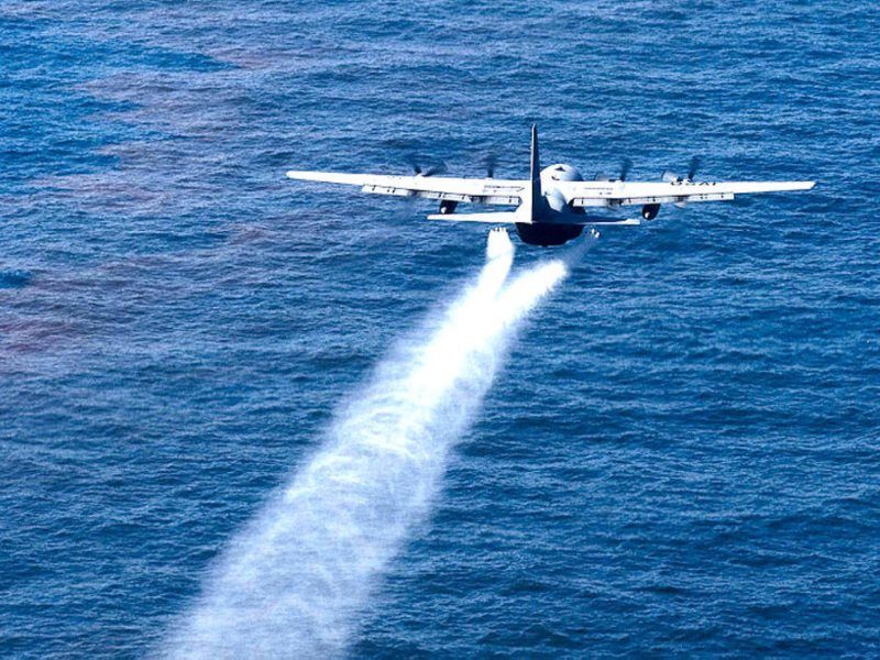 Dispersing the dispersants in the Gulf of Mexico May 5, 2010.  Adrian Cadiz, US Air Force public affairs.