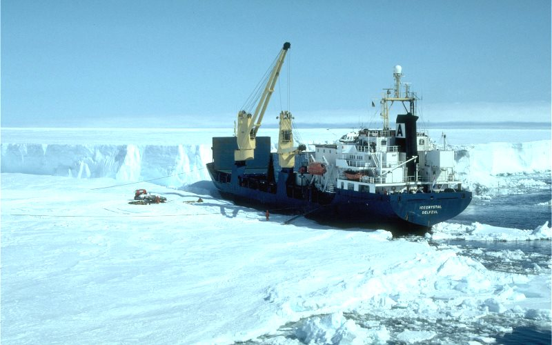 The melting on the southern Antarctic peninsula has been so sudden, that even the scientific expedition's supply ship seems to have been caught out. Photo: J Bamber,