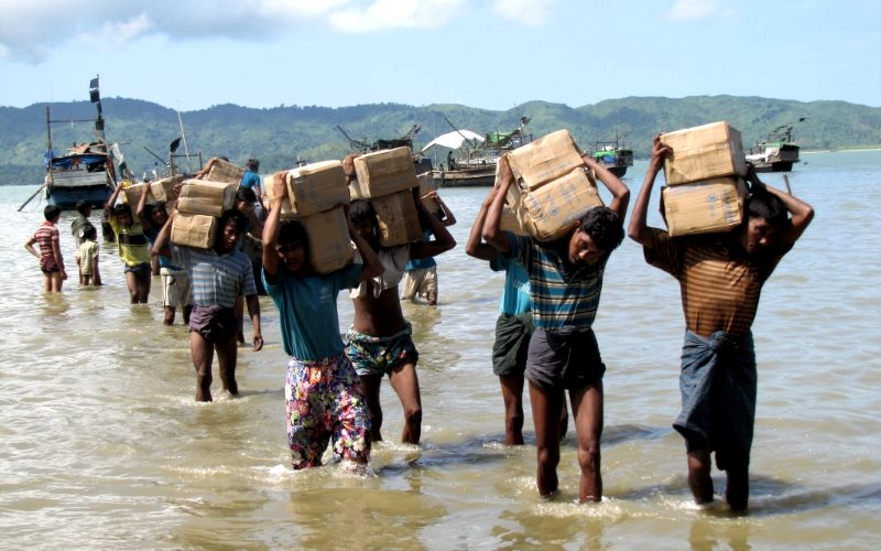 Condemned to a life of misery and discrimination: one camp for Rohingya refugees near Sittwe, Rakhine State, can only be accessed by sea with boats transporting vital aid supplies such as rice and cooking oil. Photo: Mathias Eick, EU/ECHO, September 2013