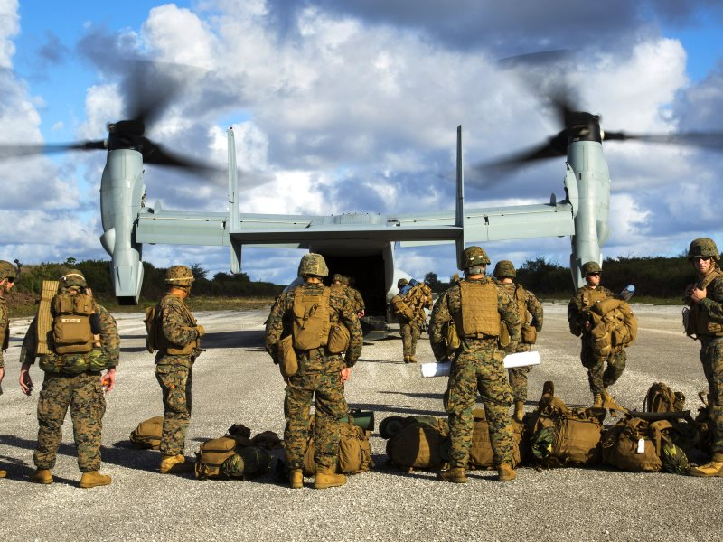 An MV-22B Osprey disembarks Marines Dec. 9, 2013, at Baker runway on Tinian's North Field during Exercise Forager Fury II. Photo: Marines via Flickr (CC BY-NC).