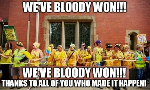'We've bloody won!' Image via Frack Free Lancashire / Facebook.