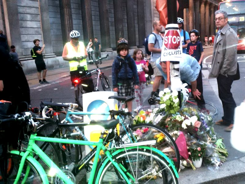An event to commemorate Ying Tao, 26, who died on 22nd June at the scene of the crash at Bank junction, run over by a tipper truck. Photo: Donnachadh McCarthy.