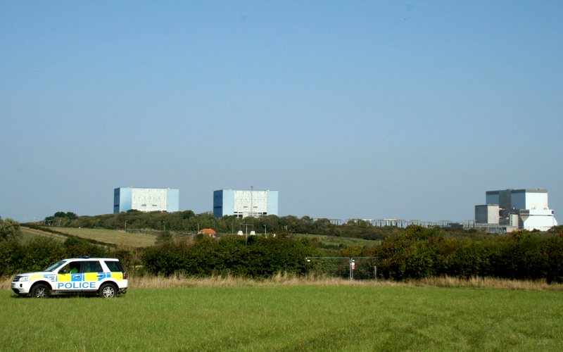 Nuclear reactors at Hinkley Point, Somerset, UK. Photo: Campaign for Nuclear Disarmament via Flickr (CC BY).