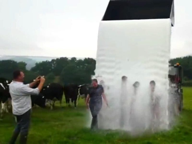Farmers take part in 'Milk Bucket Challenge' amid dairy crisis, 18th August 2015. Photo: still from video by The Vale Veterinary Group.