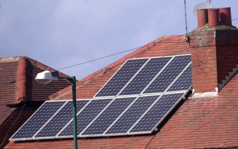 An end to the UK's solar industry? Solar panels on a house near the Northfield bypass, England. Photo: Elliott Brown via Flickr (CC BY).