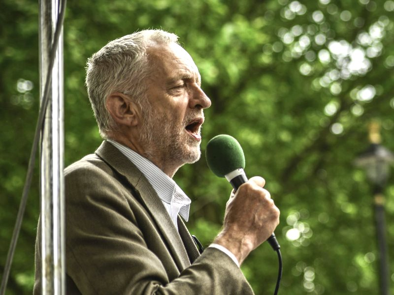 Jeremy Corbyn speaking at the 'End Austerity Now' march on the State Opening Of Parliament, 27th Ma7 2015. Photo: Sleeves Rolled Up via Flickr (CC BY-NC-SA).
