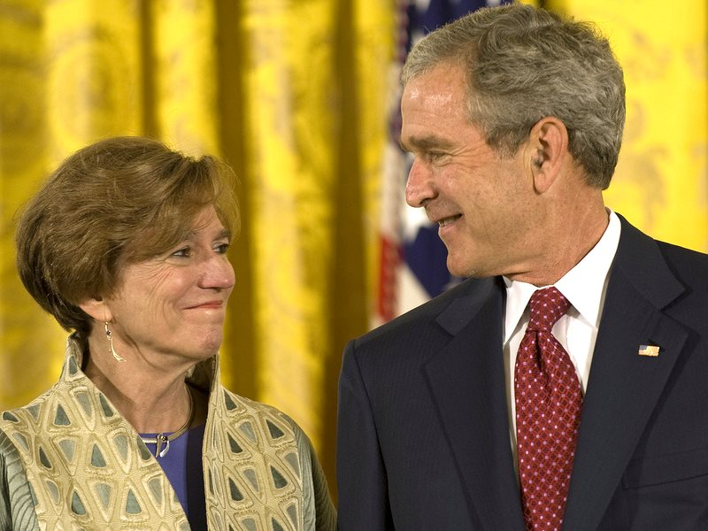 This one goes all the way to the top: Prof. Nina Fedoroff of Penn State, President of the American Association for the Advancement of Science, with shown with President G W Bush. Photo: Penn State via Flickr (CC BY-SA).