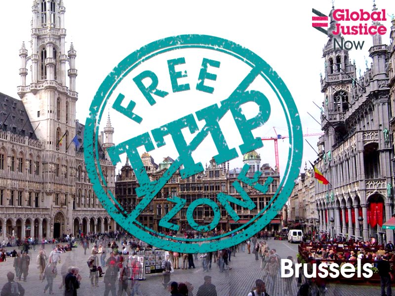 Brussels - where the European Commission is desperate to sign Europe up to the TTIP trade and investment deal with the US, is itself a TTIP Free Zone. Photo: Global Justice Now via Flickr (CC BY).