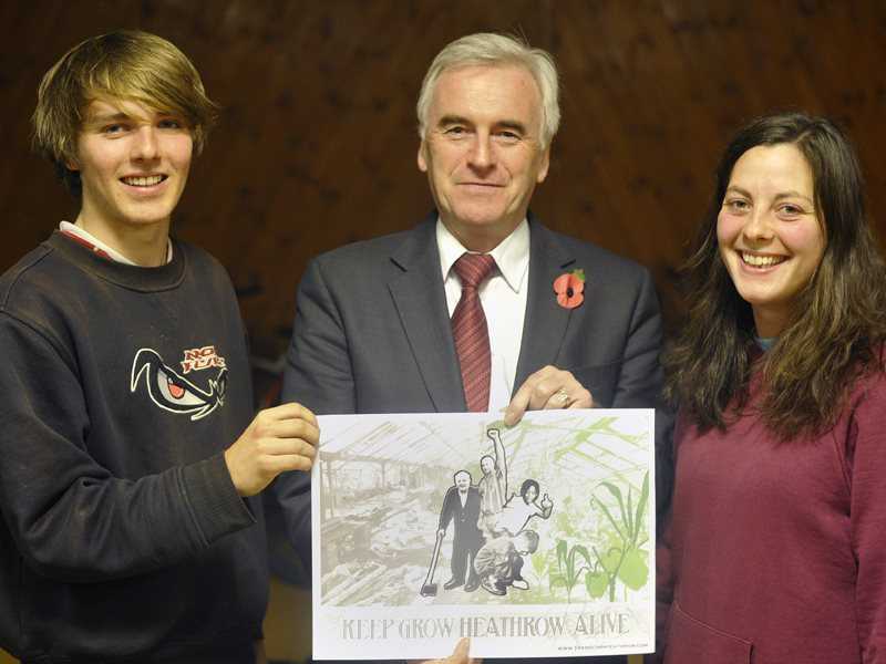 John Mcdonnell MP with 'Grow Heathrow' gardeners, opposing the construction of a third runway at London's biggest airport. Photo: Transition Heathrow via Flickr (CC BY).