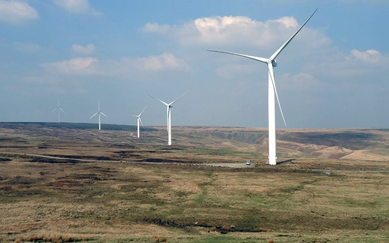 Scout Moor Wind Farm is the second largest onshore wind farm in England. But under current government policies, there won't be many more of these. Photo: Gidzy via Flickr (CC BY).