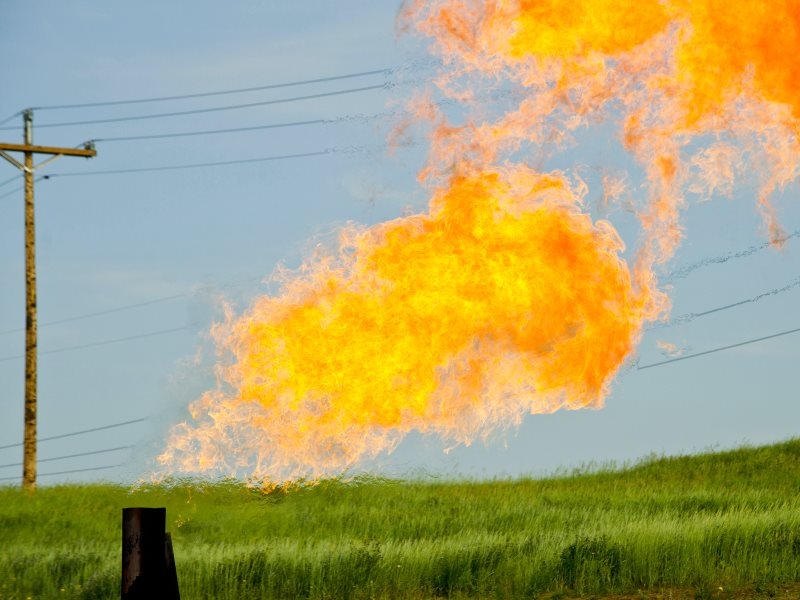 Natural gas flares from a flare-head at the Orvis State oil well in McKenzie County, North Dakota, east of Arnegard and west of Watford City. Photo: Tim Evanson via Flickr (CC BY-SA).
