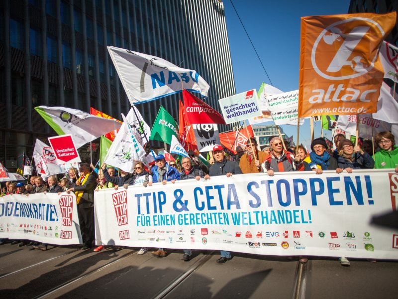 German protestors opposing TTIP and CETA in Berlin, 10th October 2015. Photo: Jakob Huber / Campact via Flickr (CC BY-NC).