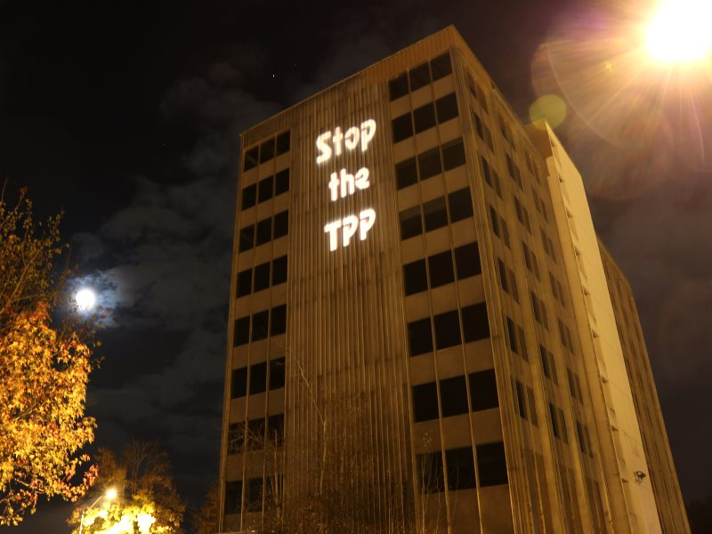 Shining a light on the TPP in Chicago, 8th November 2013. Photo: Backbone Campaign via Flickr (CC BY-NC-SA).