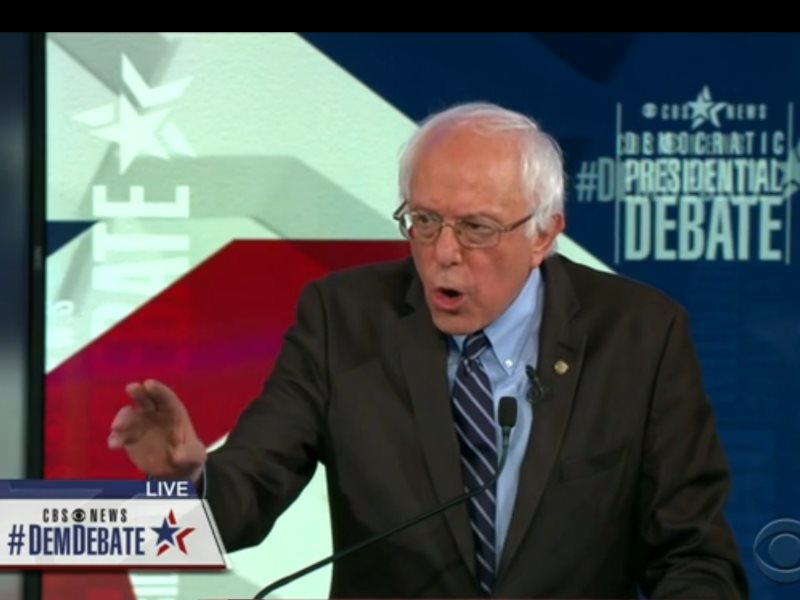 Bernie Sanders in Saturday's debate for the Democratic Presidential primaries, 14th November 2015. Photo: Still from CBS News.