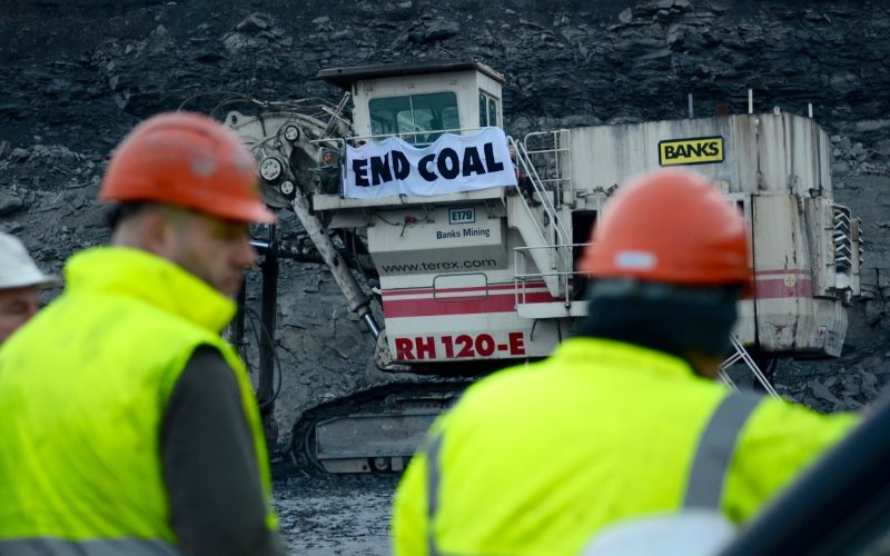 Climate protest at the Banks coal mine on Matt Ridley's estate. Photo: Brendan Montague.