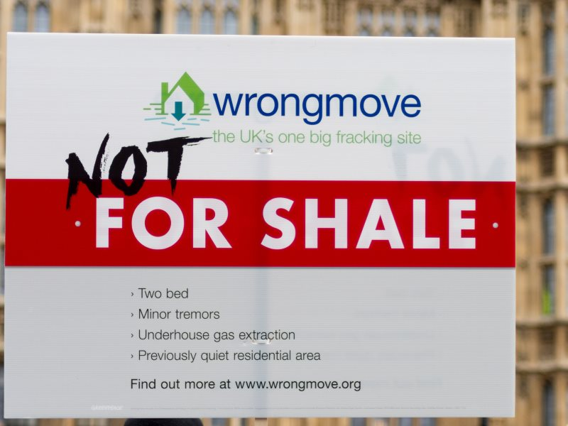 No Fracking protest in London outside Parliament, 26th January 2015. Photo: The Weekly Bull via Flickr (CC BY-NC-ND).