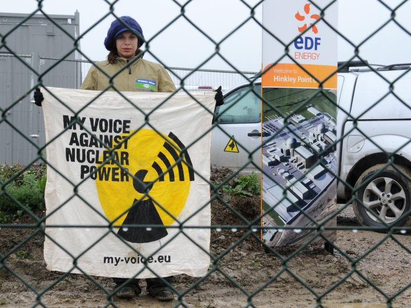 Now many members of EDF's board and most employees are agreed with this protestor in wanting EDF to drop its doomed Hinkley C project. Site blockade in October 2012. Photo: GLOBAL 2000 via Flickr (CC BY-ND).